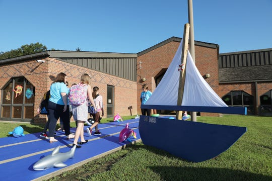 A Sailing Through the Year theme welcomed students back to National Road Elementary School in Zanesville Monday morning.