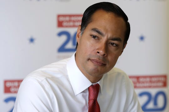 Democratic presidential candidate and former Housing Secretary Julian Castro listens during a discussion about homelessness at Cross Roads House, a transitional housing shelter, Saturday, Aug. 17, 2019, in Portsmouth, New Hampshire.