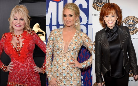 Dolly Parton, Carrie Underwood and Reba McEntire will co-host the 2019 CMA Awards.