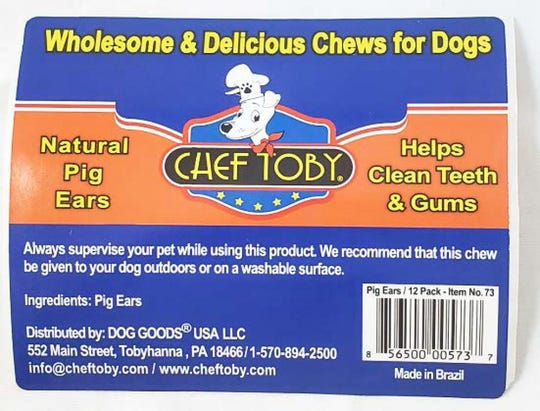 Dog Goods USA is recalling some lots of its Chef Toby pig ears.