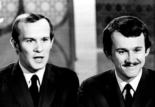 Comedians Tommy, left, and Dick Smothers are shown on April 5, 1969. Their often raucous variety show was canceled by CBS in 1969 after the network grew uncomfortable with social commentary, including opposition to the Vietnam War.