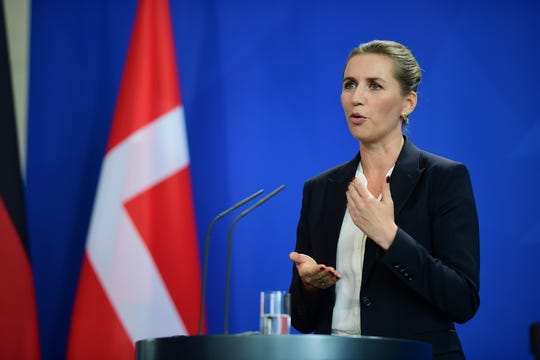 Danish Prime Minister Mette Frederiksen speaks at a press conference with German Chancellor Angela Merkel (not in the picture) at the Chancellery in Berlin, Germany, 11 July 2019. EPA-EFE/Clemens Bilan