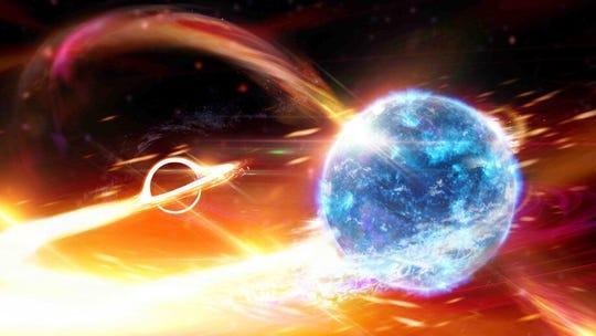 An artist's conception of a black hole about to devour a neutron star.