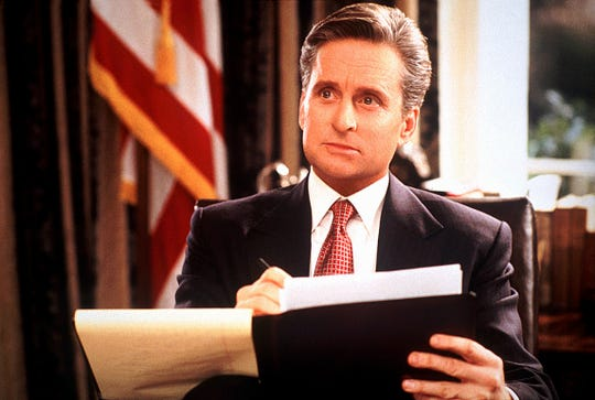 """President Andrew Shepherd (Michael Douglas) wants to find love and win re-election in """"The American President."""""""