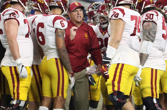 Southern California coach Clay Helton talks with his team during the 2017 Cotton Bowl against Ohio State.