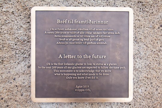 This plaque commemorates the loss of Iceland's Okjoekull glacier to climate change.