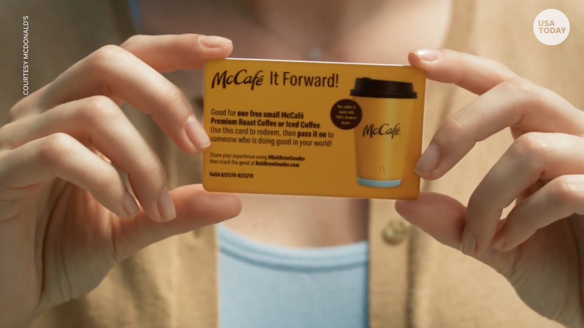 McDonald's is spreading kindness and coffee with 'McCafé It Forward' card