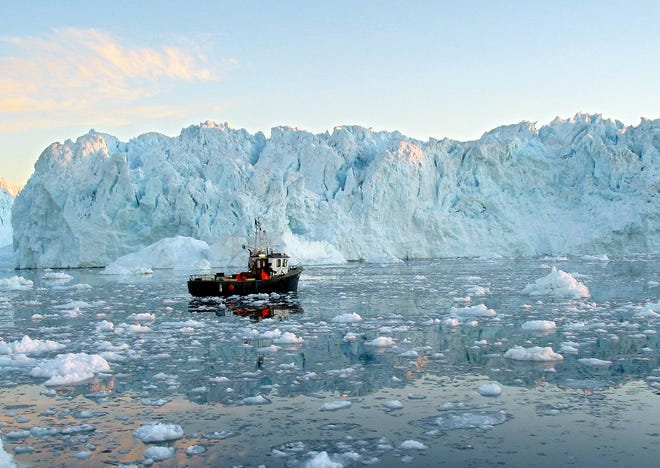 The Ilulissat fjord, on Greenland's western coast, is home to around 5,000 people, most of whom live off of shrimp and halibut fishing as well as the all-important tourism industry. Some 15,000 tourists visit the town each year, or about half of all those who visit Greenland.
