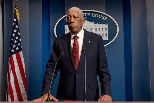 "President Allan Trumbull (Morgan Freeman) is the target of a heinous assassination attempt in ""Angel Has Fallen."""