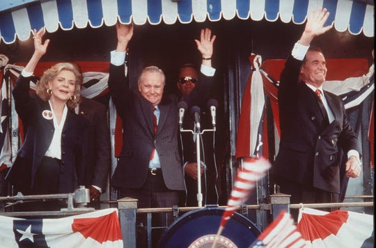 """Jack Lemmon (center) and James Garner play ex-presidents and longtime political foes in """"My Fellow Americans."""""""