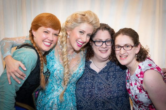 """Frozen"" on Broadway's Patti Murin (Anna), Caissie Levy (Elsa), Asbury Park Press staff writer Ilana Keller and her sister Shanna Polan."