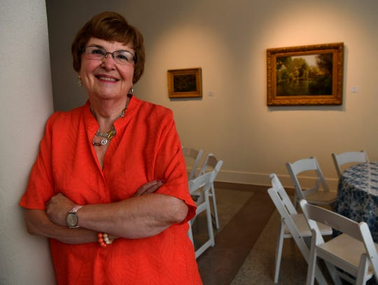 Karen Turner, a volunteer at The Grace Museum for more than 20 years, in the first-floor gallery which this week has been prepared for Saturday evening's Gala at which she will be honored.