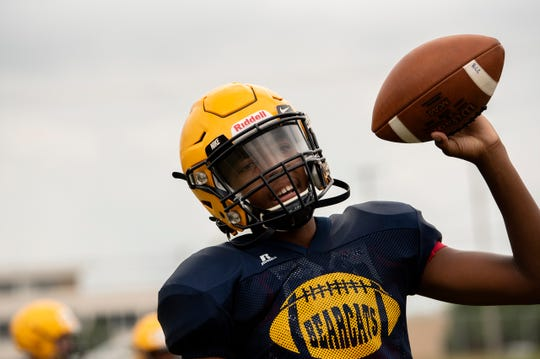 Battle Creek Central quarterback Theo Shepherd attends practice on Tuesday, Aug. 20, 2019 at Battle Creek Central High School.