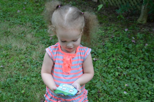 Amelia Hoffman, 3, holds a rock that her mother painted as part of a community kindness project.