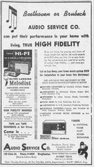 An Audio Service ad from the 1950s shows its diverse music equipment.