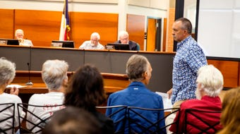"""Port Aransas residents told Port of Corpus Christi Port Authority commissioners, """"No"""" to Harbor Island during public comment at the port meeting."""