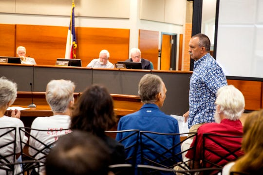 John Morris speaks against the Harbor Island project during a Port of Corpus Christi Port Authority meeting on Tuesday, August 20, 2019. Several residents from Port Aransas attended the meeting to speak out against the proposed development.
