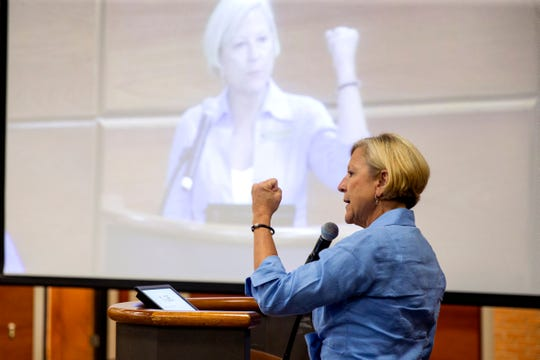 Beverly Bolner, a Port Aransas city council member, speaks against the Harbor Island project during a Port of Corpus Christi Port Authority meeting on Tuesday, August 20, 2019. Several residents from Port Aransas attended the meeting to speak out against the proposed development.
