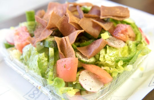 A fattoush salad displayed at Dory's Mediterranean Grill in Medford.