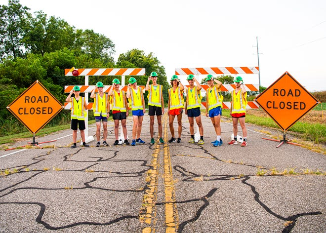 Cross Country is back in the Scioto Valley as area runners refuse to be stopped this upcoming season for their school's team. (L-R) Paint Valley's Riley Walls, Unioto's Eric Hacker, Westfall's Preston Clifton, Chillicothe's Andrew McCallum; Huntington's Tye Hinshaw, Waverly's Aidan Judd, Adena's Emmitt Cunningham, Zane Trace's Eli Preston, and Piketon's Jarrett Klinker. Photo taken on Lowery Lane with cooperation from Kathleen Fuller and the Ohio Department of Transportation (ODOT).