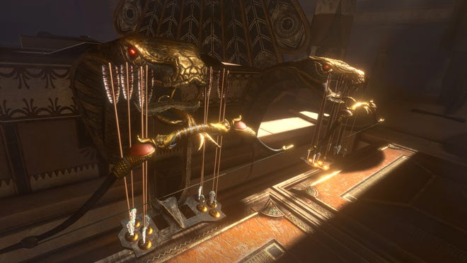 """A look at what players would see inside the virtual reality escape room """"Inside the Lost Pyramid"""", part of Ubisoft's Assassin's Creed Origins world."""