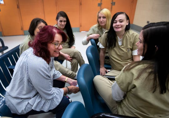 Scarlet Hudson talks with the women in the Recovery Pod at the Hamilton County jail. The Recovery Pod is a volunteer pod for women battling addiction.