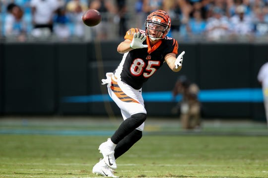 Cincinnati Bengals tight end Tyler Eifert (85) completes a catch in the second quarter during a Week 3 NFL game between the Cincinnati Bengals and the Carolina Panthers, Sunday, Sept. 23, 2018, at Bank of America Stadium in Charlotte, North Carolina.