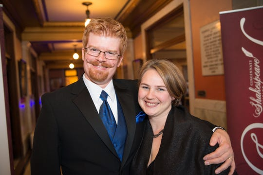 John and Rebecca Bromels at a recent Cincinnati Shakespeare Revel. Rebecca, an assistant professor of arts administration at the College-Conservatory of Music, serves as the director of most of her husband's plays.