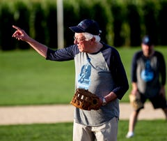 Bernie Sanders plays softball at the Field of Dreams