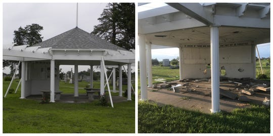 A collage of images shows how the gazebo memorializing Iowa veterans at Leon Cemetery looked before and after it was vandalized in August 2019.