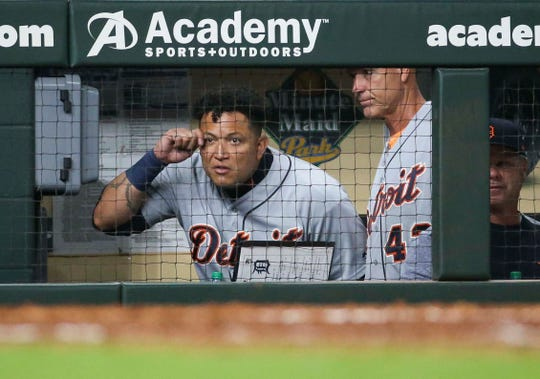 Detroit Tigers designated hitter Miguel Cabrera reacts after being ejected during the game against the Houston Astros, Monday, Aug. 19, 2019, in Houston.