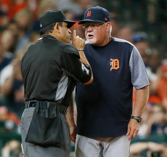 Detroit Tigers manager Ron Gardenhire argues with home plate umpire Alfonso Marquez after being ejected during the fifth inning Monday, Aug. 19, 2019, in Houston.