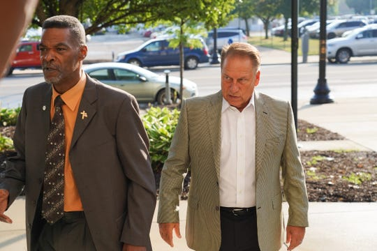 Michigan State University Basketball coach Tom Izzo walks towards the Genesee County Circuit Court in support of former Michigan State basketball star Mateen Cleaves on Tuesday, August 20, 2019 before closing arguments in his trial on sexual assault charges.