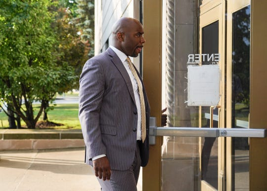 Former Michigan State basketball star Mateen Cleaves enters Genesee County Circuit Court on Tuesday, August 20, 2019 for closing arguments of his trial on sexual assault charges.