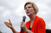 In this Aug. 10, 2019, file photo, Democratic presidential candidate Sen. Elizabeth Warren, D-Mass., speaks at the Iowa State Fair. Warren's new crime plan includes a series of policies that reflect the wishes of progressive activists who say the criminal justice system is racist and ease penalties for relatively minor infractions.