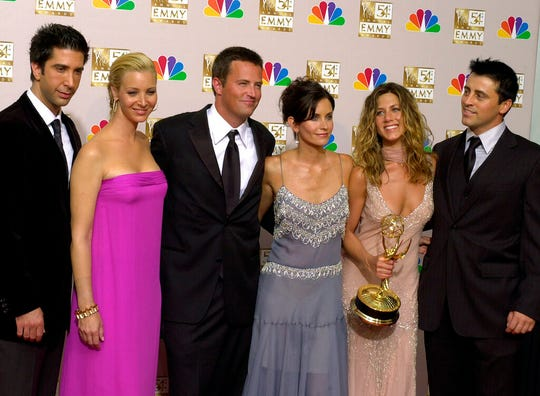 "In this Sept. 22, 2002 file photo, the stars of ""Friends,"" from left, David Schwimmer, Lisa Kudrow, Matthew Perry, Courteney Cox Arquette, Jennifer Aniston and Matt LeBlanc pose after the show won outstanding comedy series at the 54th Annual Primetime Emmy Awards"