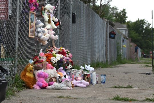 At the home of Claudia Stapleton, aunt of Emma Hernandez, stuffed animals, candles, balloons and photographs of Emma Hernandez are set in a memorial in Detroit on Tuesday, August 20, 2019.