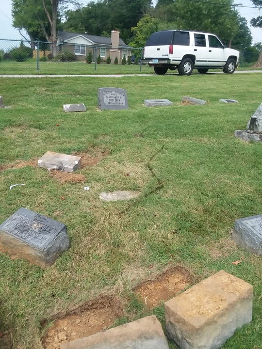 A Chandler woman was arrested after she reportedly drove a 9-year-old child on her lap through the infant section of Locust Hill Cemetery damaging a number of headstones.
