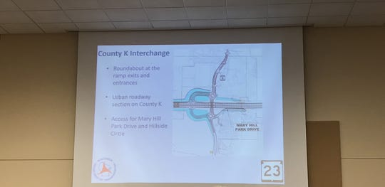 The presentation by the Wisconsin Department of Transportation shows the plan to create an interchange at Fond du Lac County Road K.
