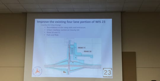 The presentation by the Wisconsin Department of Transportation shows the plan to create an interchange at Fond du Lac County Road UU.