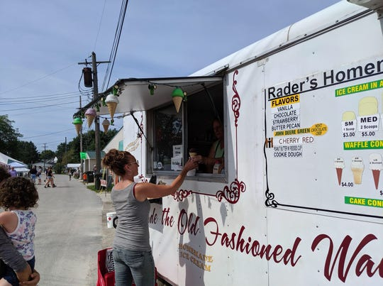 Rader's Old Fashioned Ice Cream offers cones or cups of homemade ice cream, with everything from traditional vanilla and chocolate to its newest Cherry Red concoction.