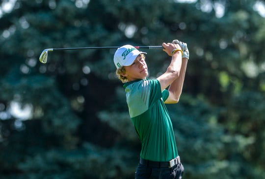 CMR's Eli Groshelle tees off during the Great Falls Invitational Golf Tournament earlier this season at Eagle Falls Golf Course. He finished eighth individually in Billings on Tuesday.