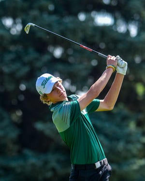 CMR's Eli Groshelle tees off during the 2019 Great Falls Invitational Golf Tournament at Eagle Falls Golf Course. Groshelle, now a junior, will be competing when the 2021 tournament kicks off the high school sports schedule Monday at Meadow Lark Country Club.
