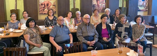 The island-wide class of 1956 held its regular luncheon on Aug. 6, at Meskla restaurant in Hagåtña. Front row from left: Priscilla Tuncap, Joe Alig, Blas Perez, Antonina Perez, Julia Villagomez, and Rita Guzman. Back row: Chilang Shaw, Cel Alig, Connie Cruz, Elaine Jones, Jovie Mejorada, Terry Cruz Paulino, Pat Diaz, and Terry Paulino.
