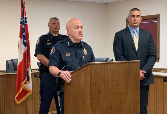 Petal Police Chief answers questions from the media during a news conference Tuesday, Aug. 20, 2019, at City Hall. A man is in custody undergoing a psychiatric evaluation after bringing a gun into Walmart.