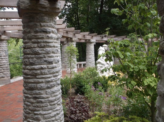 The limestone and dolomite columns were disassembled, numbered and reassembled as part of the restoration of the Jens Jensen's Riverdale landscape at Marian University.