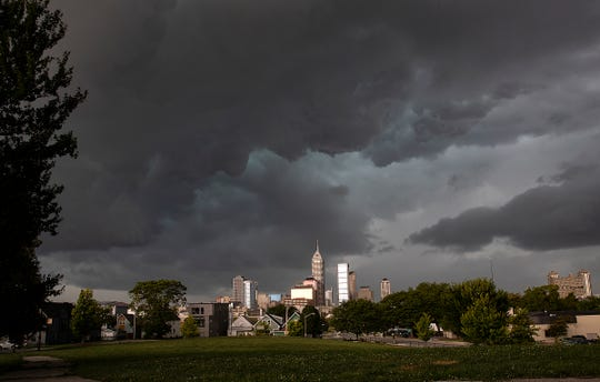 Late afternoon thunderstorms roll into downtown Indianapolis on Tuesday, August 20, 2019.