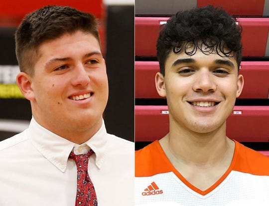 George Karlaftis of West Lafayette plays football for Purdue. Anthony Leal of Bloomington South committed to IU to play basketball.