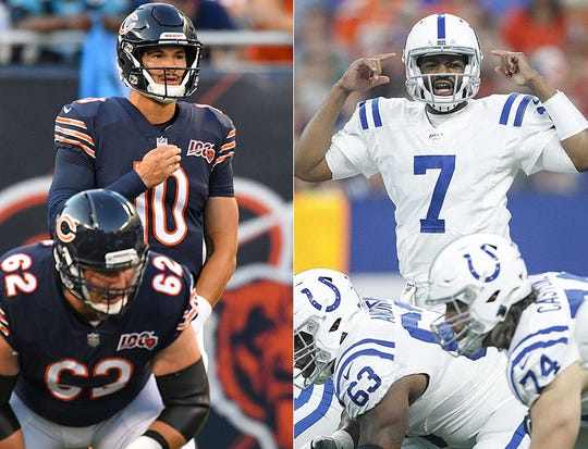 Mitchell Trubisky of the Chicago Bears and Jacoby Brissett of the Indianapolis Colts.