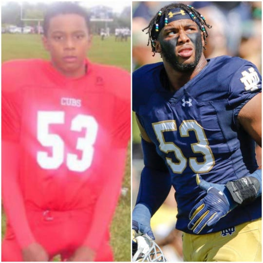 (l-r) Khalid Kareem with the West Side Cubs at age 10 and more recently as a Notre Dame defensive end